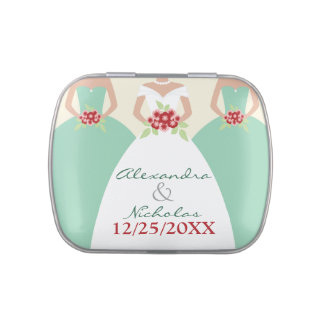 Bride and Bridesmaid Bridal Party Favors (mint) Jelly Belly Candy Tins