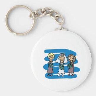Bride And Bridesmaids Pose For Wedding Picture Basic Round Button Key Ring