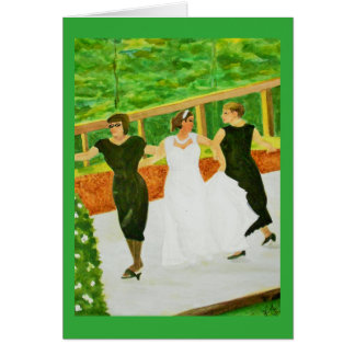 Bride and Grandmothers Wedding Dance Watercolor Card