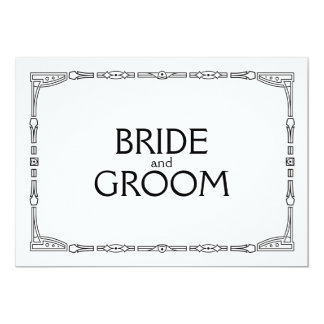 """Bride and Groom"" Art Deco Style Wedding Sign 13 Cm X 18 Cm Invitation Card"