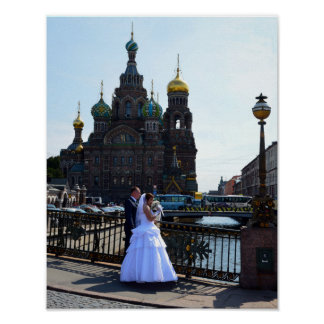 Bride and Groom at St. Petersburg, Russia, Church Poster