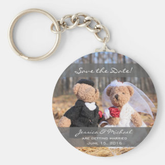 Bride and Groom Bears Wedding Save the Date Key Ring