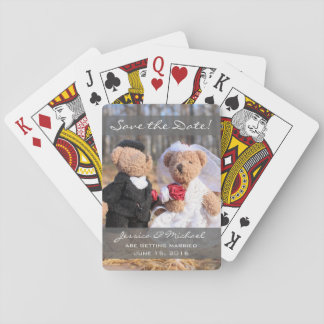 Bride and Groom Bears Wedding Save the Date Playing Cards