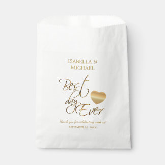 Bride and Groom Best Day Ever - White and Gold Favour Bag