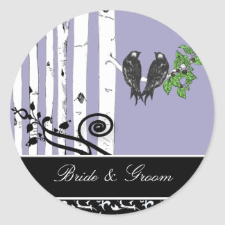Bride and Groom Birch Tree Vintage Birds Sticker