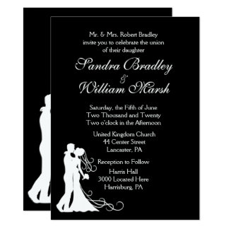 Bride and Groom Black White Wedding 14 Cm X 19 Cm Invitation Card