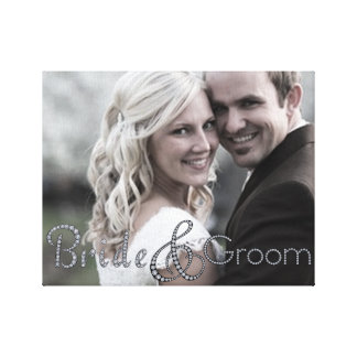Bride and groom bling photo canvas stretched canvas print