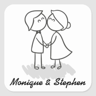 Bride And Groom Cartoon Black And White Wedding Square Sticker