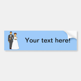 Bride and groom cartoon bumper sticker