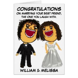 Bride and Groom Cartoon Congratulations Greeting Card