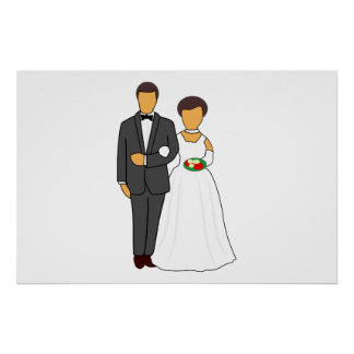 Bride and groom cartoon poster