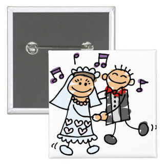 Bride and Groom Celebrate 15 Cm Square Badge
