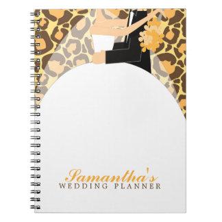 Bride and Groom Custom Wedding Planner {leopard} Notebook
