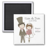 Bride and Groom Cute Cartoon Save the Date Wedding