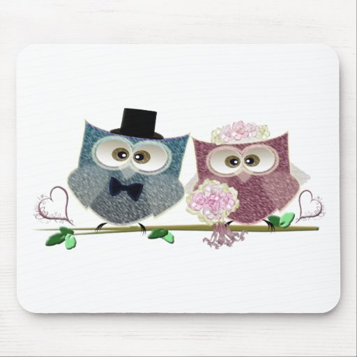 Bride and Groom cute Owls Art Mouse Mat