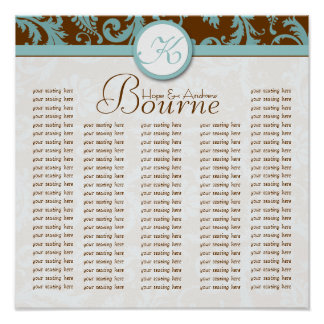 Bride and Groom Damask Seating Chart for Reception