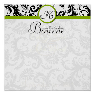 Bride and Groom Damask Swirl Green Wedding Poster