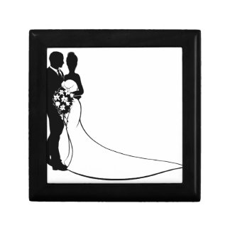 Bride and Groom Flowers Wedding Silhouette Small Square Gift Box
