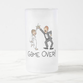 Bride and Groom Game Over Frosted Glass Mug