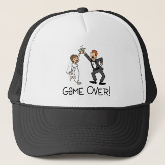 Bride and Groom Game Over Wedding Trucker Hat
