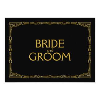 """Bride and Groom"" Gold Art Deco Style Wedding Sign 13 Cm X 18 Cm Invitation Card"