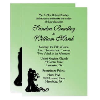 Bride and Groom Green 14 Cm X 19 Cm Invitation Card
