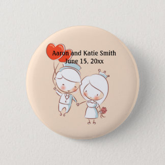 Bride and Groom Heart Balloons Wedding Date Button