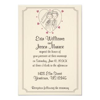Bride and Groom Heart Sketch Wedding Invitation