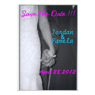 bride and groom holding hands card