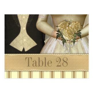 Bride and Groom (ivory) Wedding Table Number Postcard