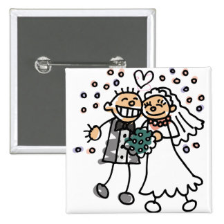 Bride and Groom Jump for Joy Pinback Buttons