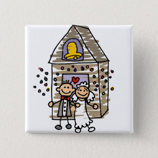 Bride and Groom Leave Church 15 Cm Square Badge