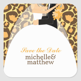 Bride and Groom Leopard Print Wedding Square Sticker