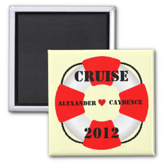 Bride and Groom Life Preserver Square Magnet