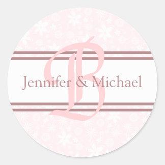 Bride And Groom Monogram Letter B  Seal Round Sticker