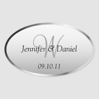 Bride And Groom Monogram  W Wine Labels Oval Sticker