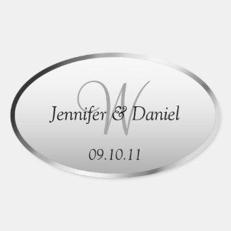 Bride And Groom Monogram  W Wine Labels Oval Sticker