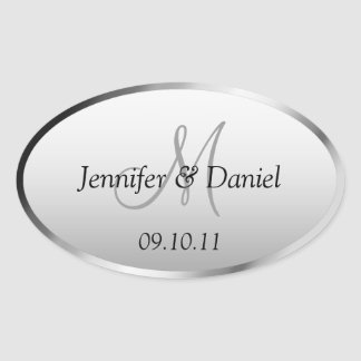Bride And Groom Monogram Wine Labels Oval Sticker