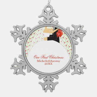 Bride and Groom Newlyweds First Christmas Ornament