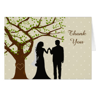 Bride and Groom Oak Tree Wedding Thank You Note Card