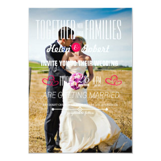 Bride and groom on a field card