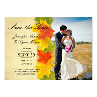 Bride and groom on a field/fall theme card