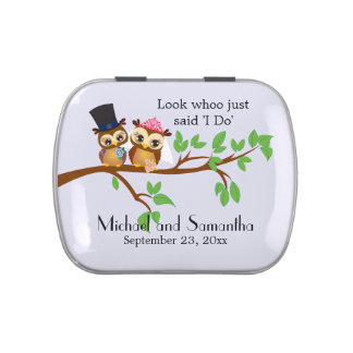 Bride and Groom Owl Jelly Belly Tin