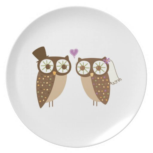 Bride and Groom Owl wedding plate
