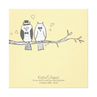 Bride and Groom Owls Wedding Stretched Canvas Prints