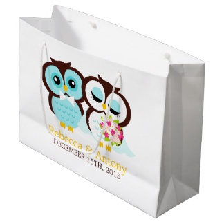 Bride and Groom Owls Wedding Large Gift Bag