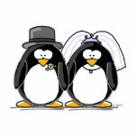 Bride and Groom Penguin - photo scuplture Cut Out