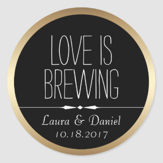 Bride and Groom Personalised Coffee Label Round Sticker