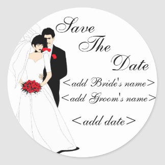 Bride and Groom Round Sticker