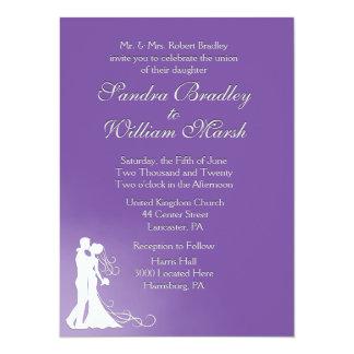 Bride and Groom Royal Purple 14 Cm X 19 Cm Invitation Card